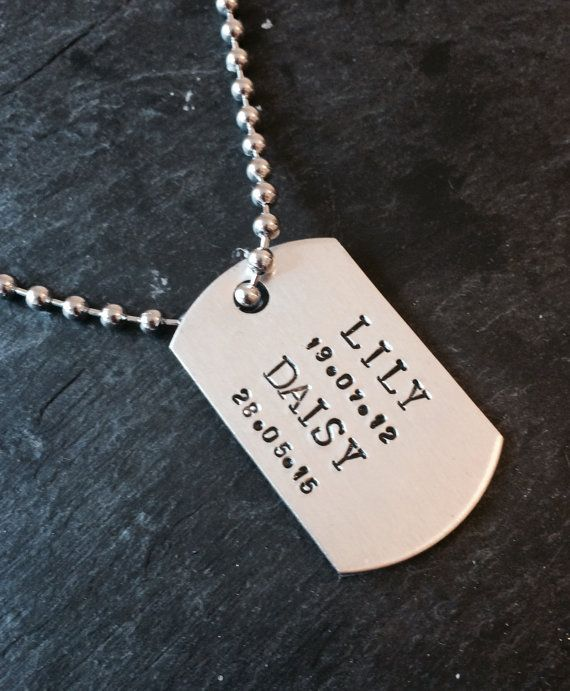 Dog tag necklace personalised dog tag mens by Daisylilyjewellery