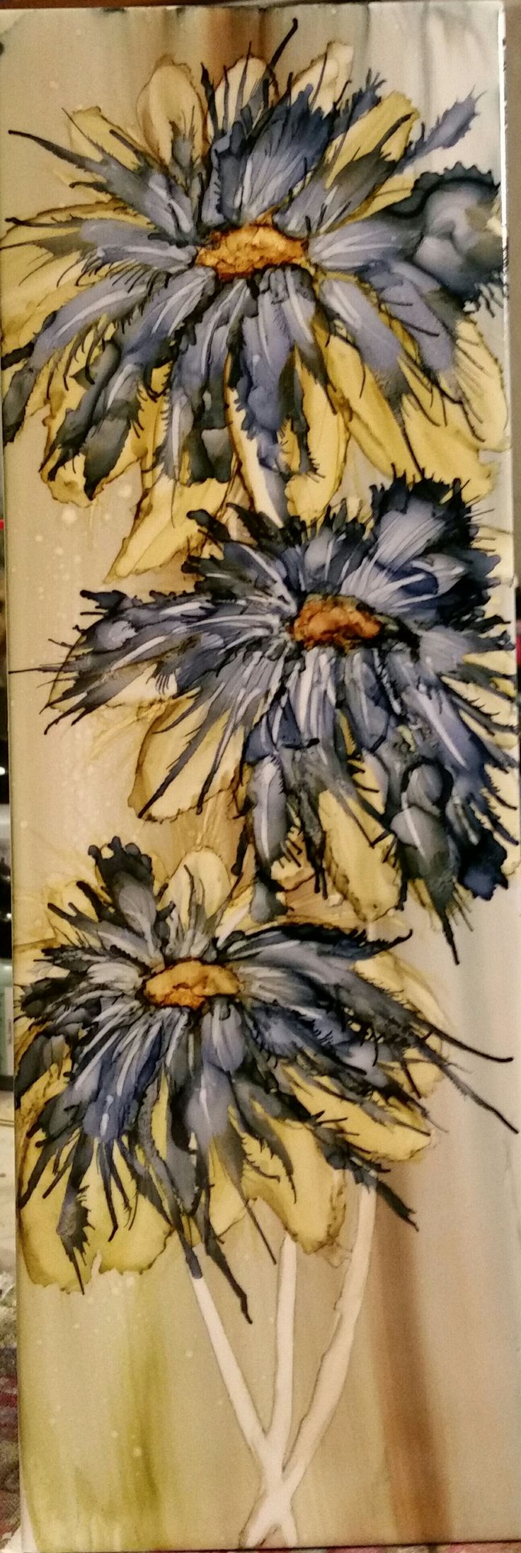 Flowers in alcohol ink on 12x4 ceramic tile by Tina                                                                                                                                                                                 More
