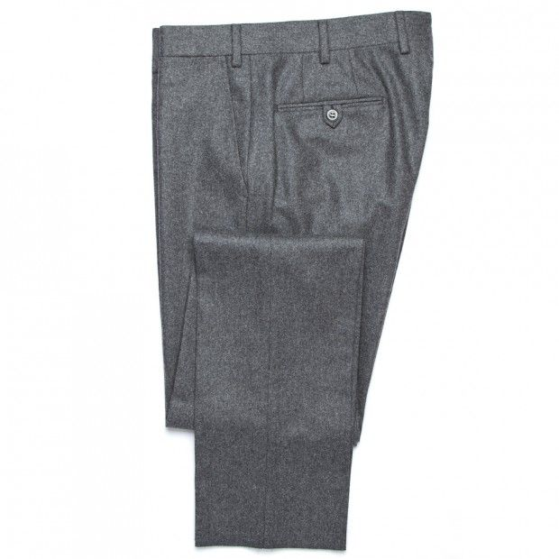 Flannel Trousers - Mid Grey - Trousers - Clothing