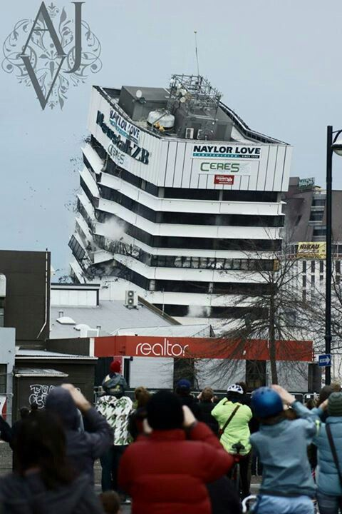 Competition Winning Shot of The News Talk Zb Building Controlled Demolition. Christchurch Earthquake Damaged Building.