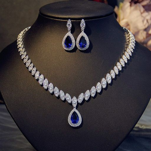 Glam Duchess Style Teardrop Royal Blue Crystals Necklace Earrings Set