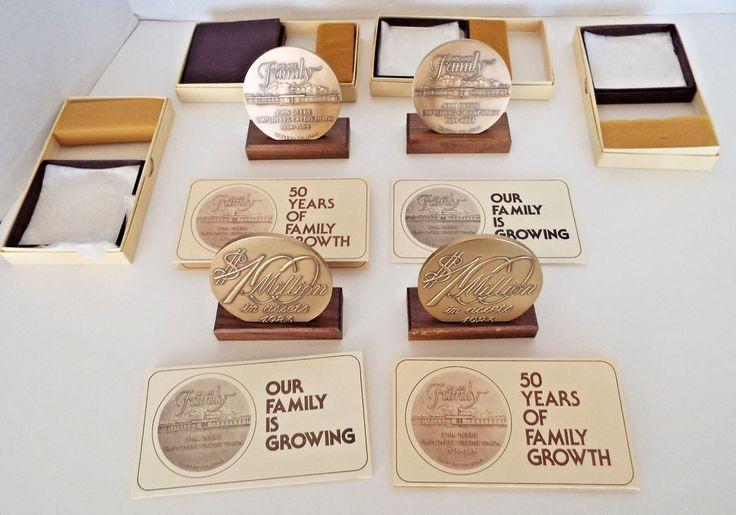 4 John Deere Credit Union 50th Commemorative Solid Brass Die Struck Medallions