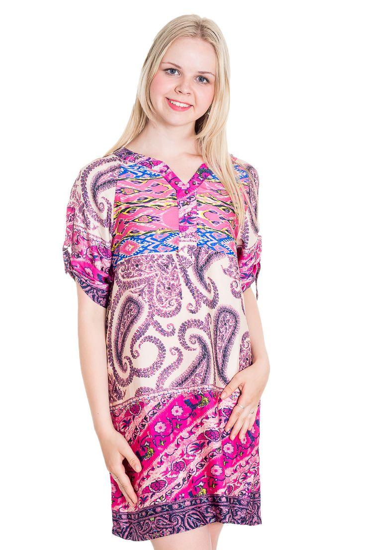 Розово-голубое атласное платье-туника в стиле Бохо — http://fas.st/vzvQfC