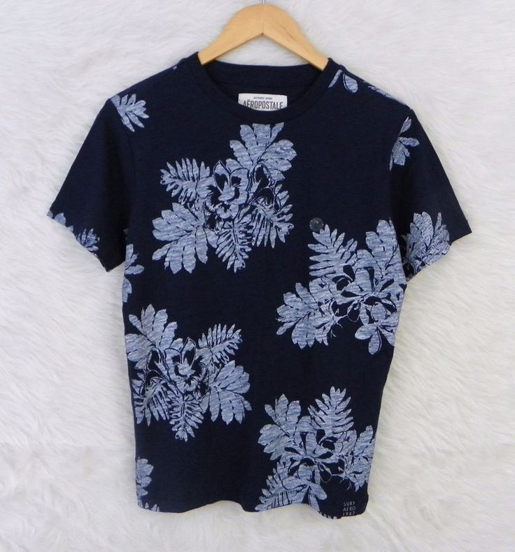 NEW Mens AEROPOSTALE Blue Tropical Floral 100% Cotton Shirt Size Small #Aropostale #Knit