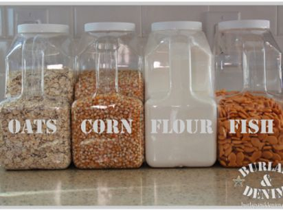 If you buy something in bulk a lot, save the containers to create your own bulk storage set. | 19 Totally Ingenious Ways To Use Empty Food And Drink Containers