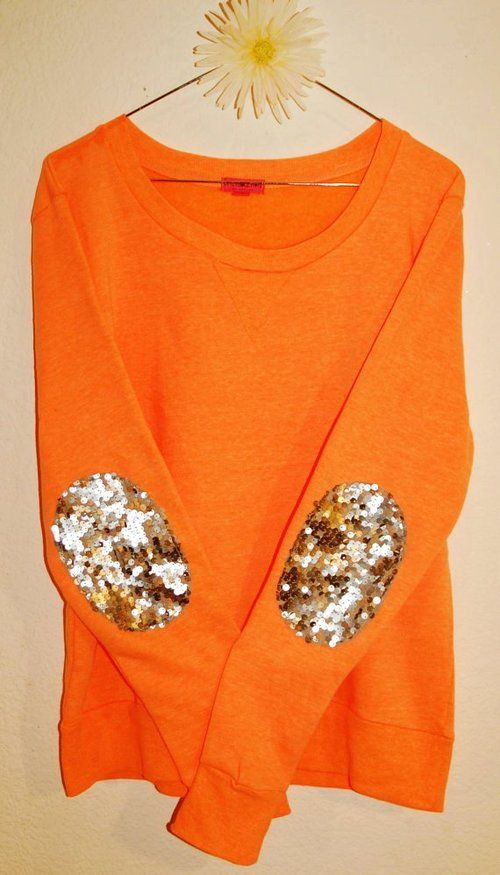 orange + elbow pads + sequins