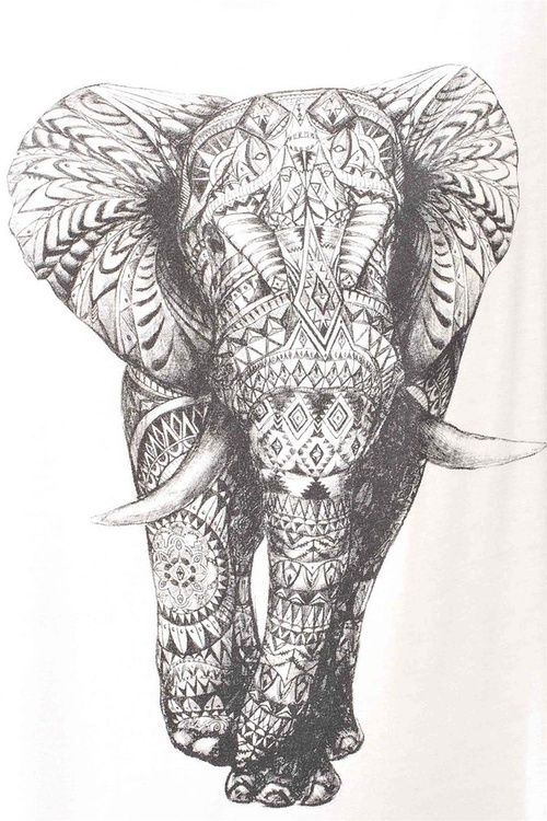 pen and ink art idea because i love elephants - Coloring Page Elephant Design