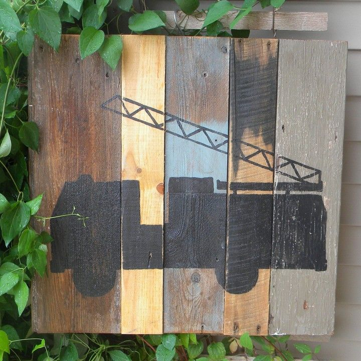 Rustic Barn Wood Art (Fire Truck)