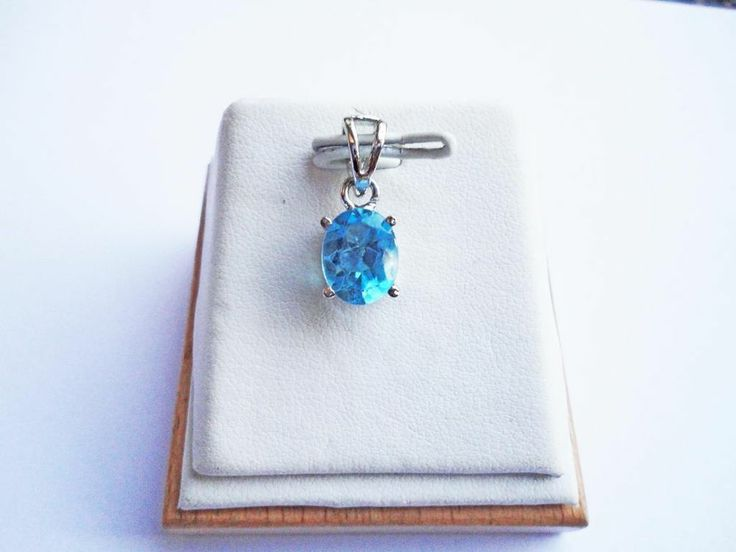 Luxury Natural Ocean Blue Topaz Gemstone 2.80 ct Pendant In .925 Sterling Silver #Handmade #Pendant
