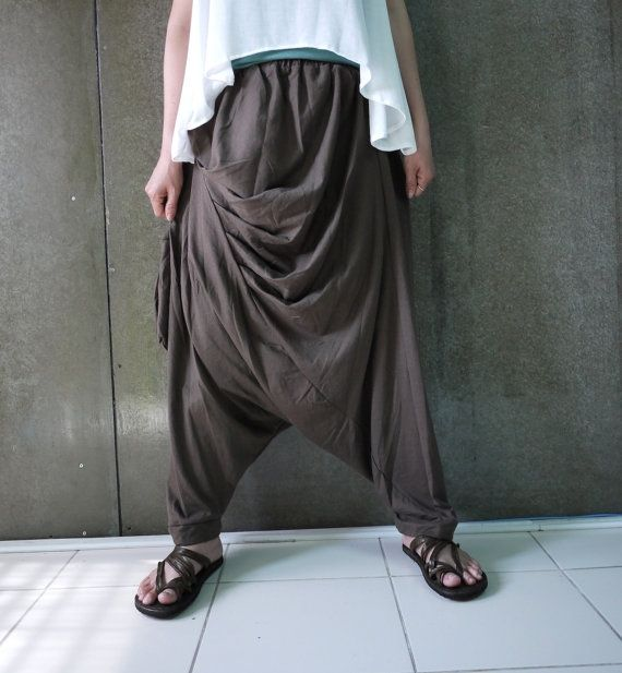 Boho Funky Hippie Ninja Harem Stylish Steampunk Casual Dark Brown Stretch Cotton Men Women Pants With Hanging Pocket- P005 by BuCip