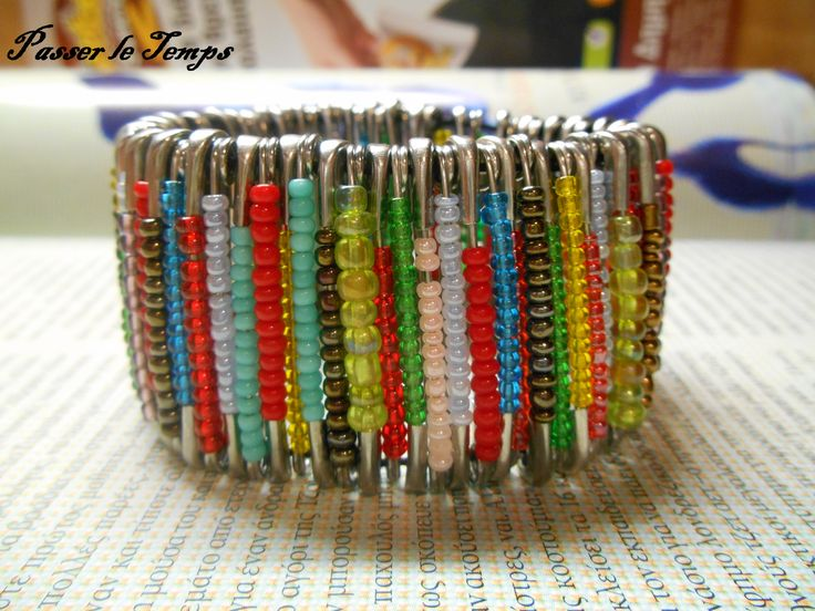 72 safety pins, A LOT of seed beads and elastic cord for this bracelet