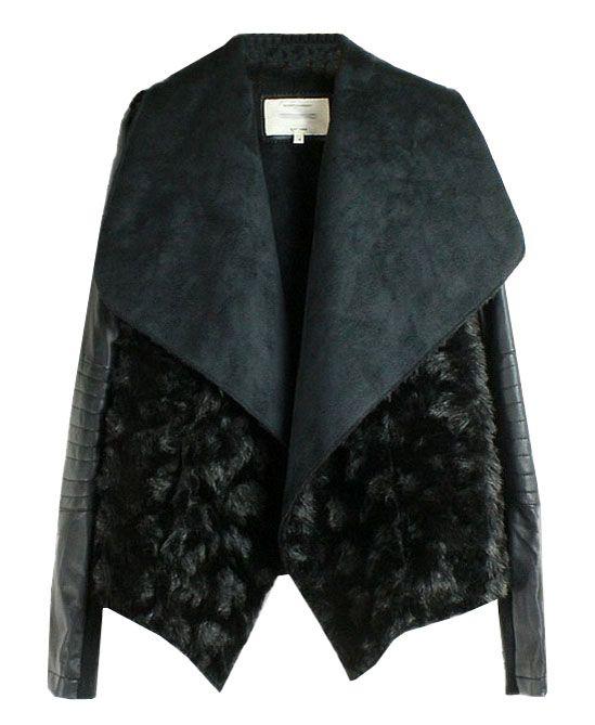 Black Faux Fur Big Lapel Coat. LOVE IT