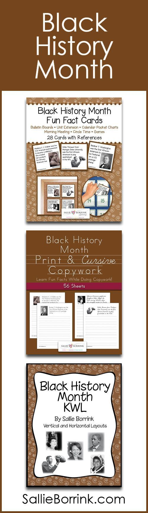 Learn about fascinating people during Black History Month with these fun and practical products! They include Fun Fact Cards, Print and Cursive Copywork and Handwriting, and a Black History Month KWL .Perfect unit extensions for your Black History Month unit!