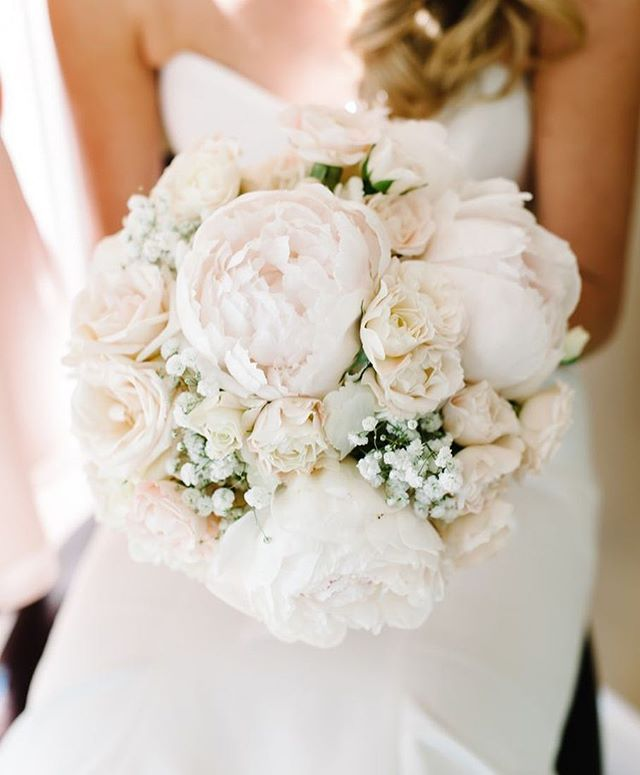 Elegant Mix Of Peonies, Roses And Baby's Breath