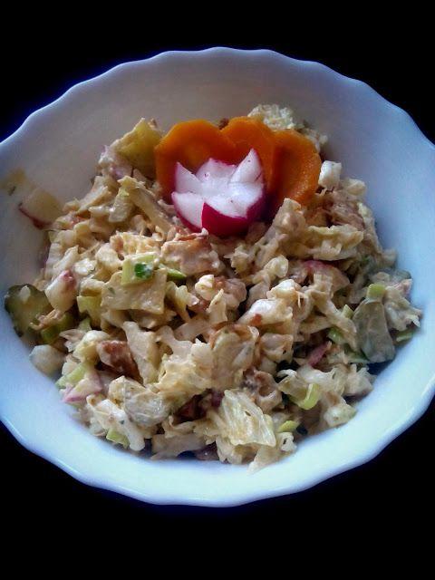 magiczna kuchnia Kasi: Sałatka z kapusty pekińskiej , kurczaka i rzodkiewki