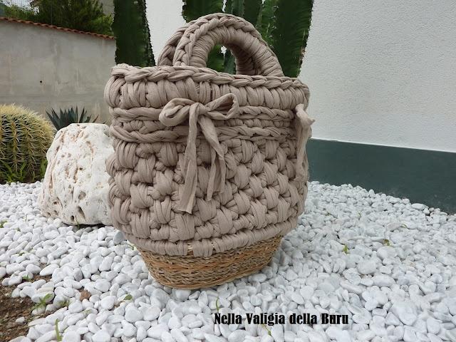 tutorial della buru per borse in fettuccia all'uncinetto fai da te! Come riutilizzare i cestini in vimini per creare fondi rigidi!!!