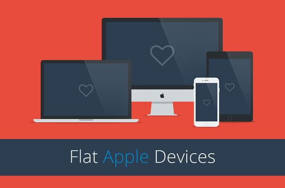 Flat Responsive Apple Web Mockups by mmminimal on Creative Market