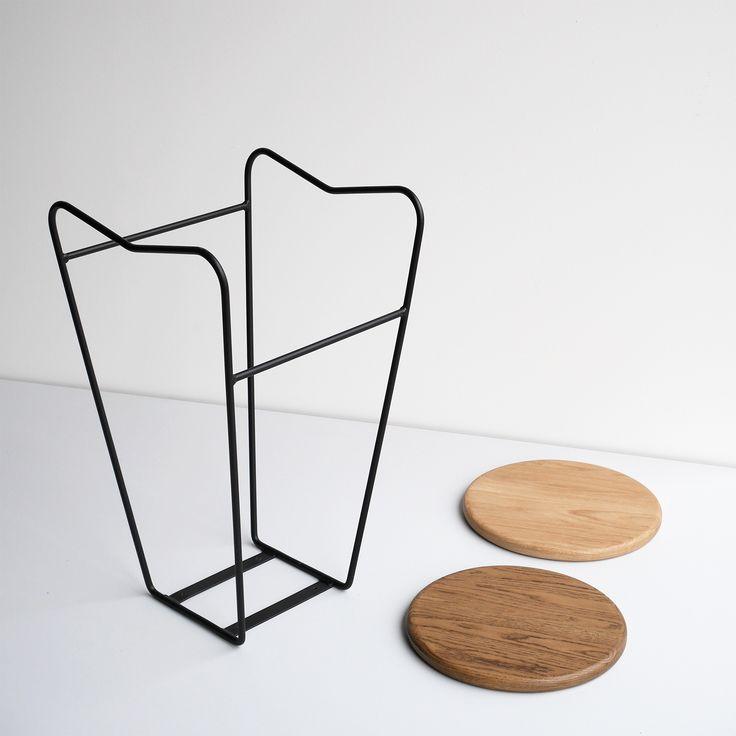 HOPA BLK bar stool  American oak seat of matt black steel frame  Made in Melbourne