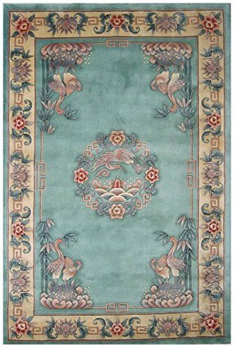 Chinese Premiere Superwashed Green Crane Design Rugs PSW451: Amazon.co.uk: Kitchen & Home