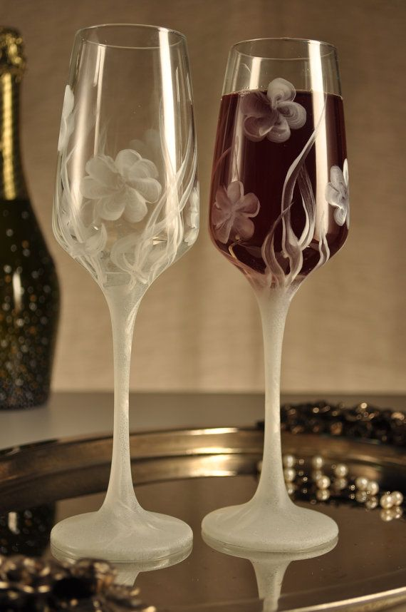 Set of 2 hand painted champagne flutes by PaintedGlassBiliana, $30.00