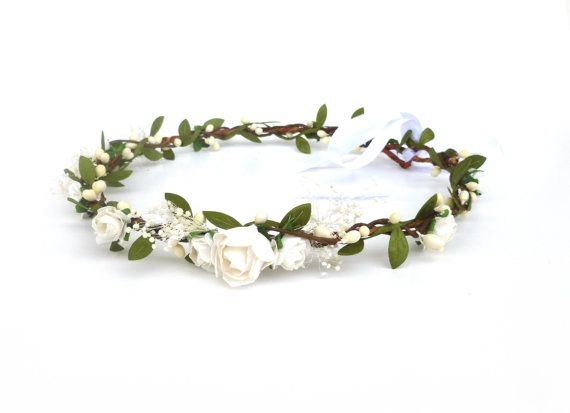 white rose crown dainty flower crown girls flower by LilouMei
