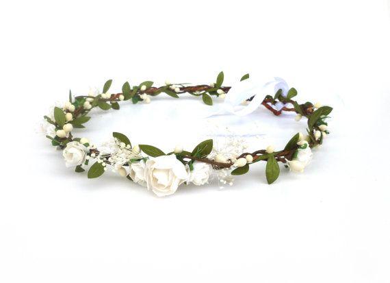 white rose crown dainty flower crown girls flower by LilouMei