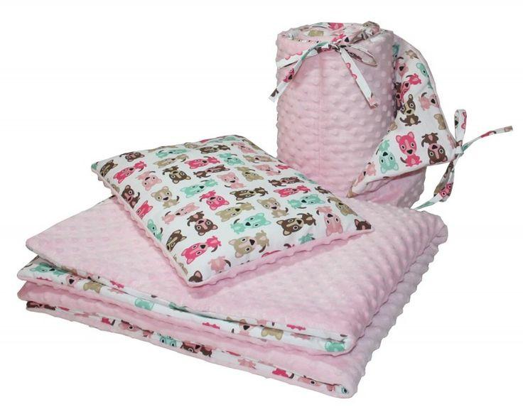 Zestaw minky róż/ Pieski - Kocyk 75x100, poduszka 30x40, ochraniacz na łóżeczko Mayabel