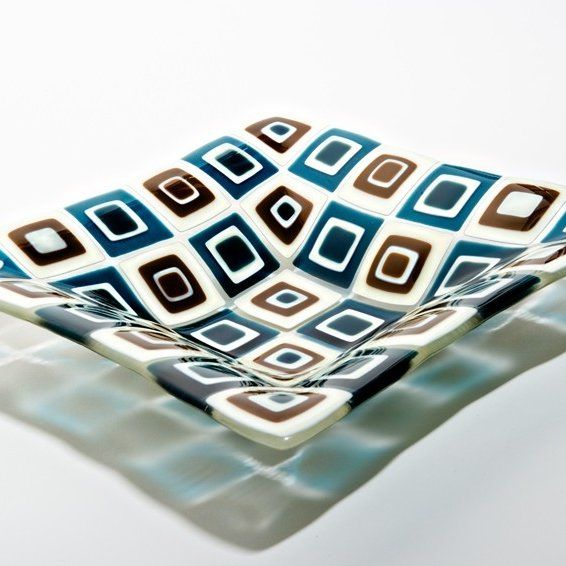 Retro style fused glass pattern in dark aqua, chocolate and vanilla. Description from custommade.com. I searched for this on bing.com/images