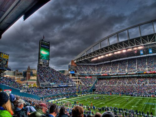 home of the seattle seahawks Wow, just look at that sky! Been there many times with the sky ( pouring rain) looking like that!