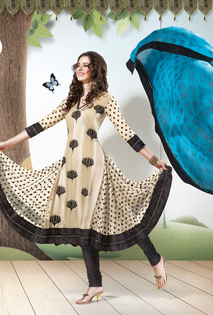 Chiku colored salwar suit with printed dupatta