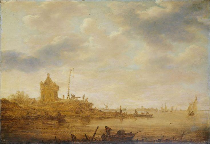 River view with guard. 1644   Jan van Goyen   oil painting #landsapes