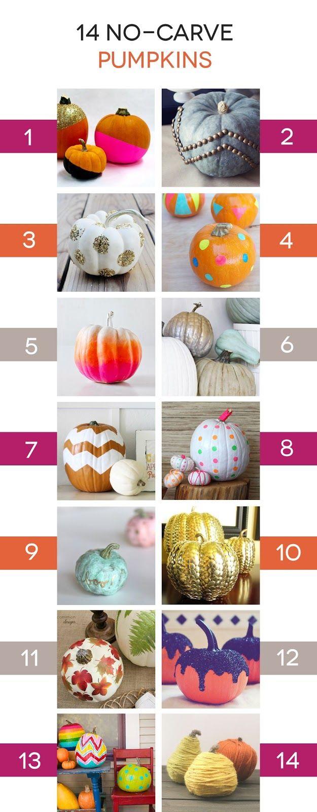 14 No-Carve Ways to Decorate Pumpkins #pumpkin #decorate #no-carve #Halloween #Fall #crafts