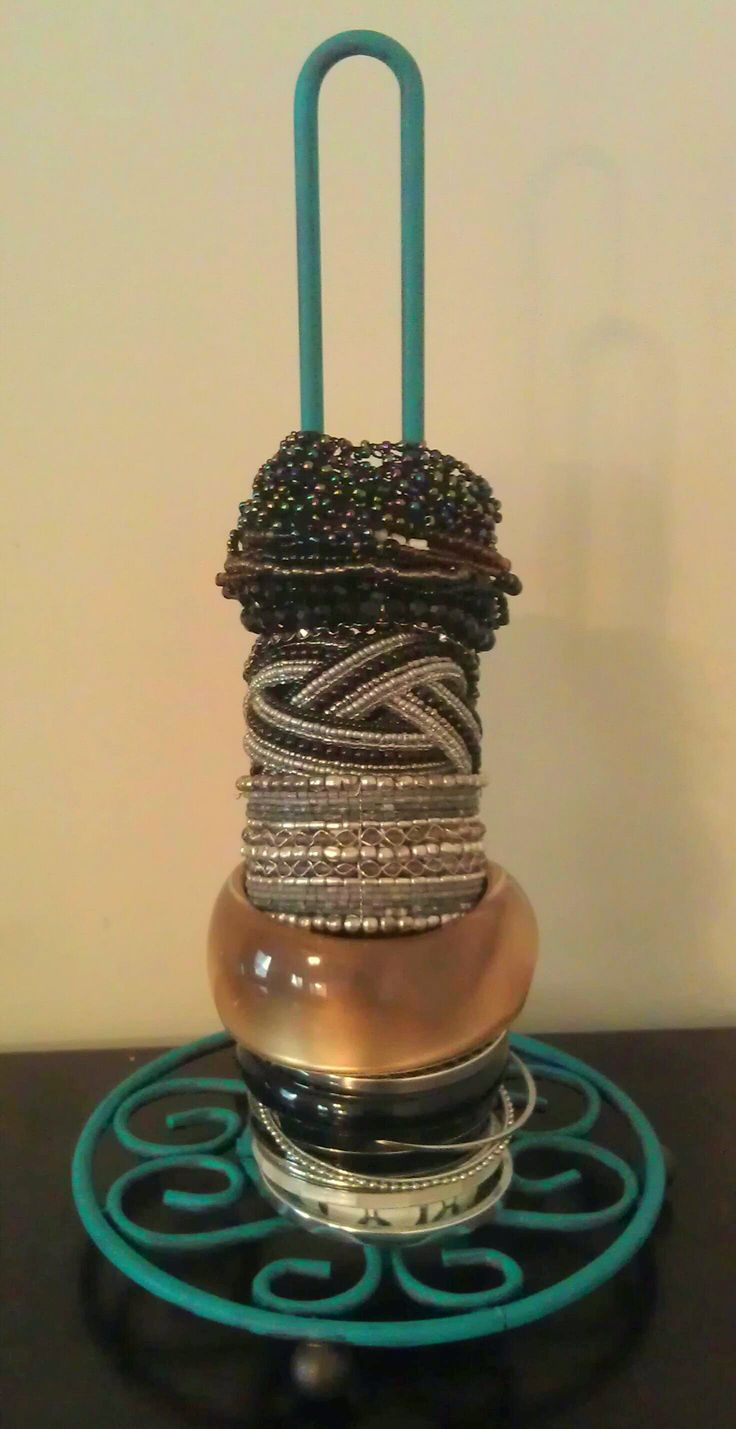 painted paper towel holder turned bracelet holder.
