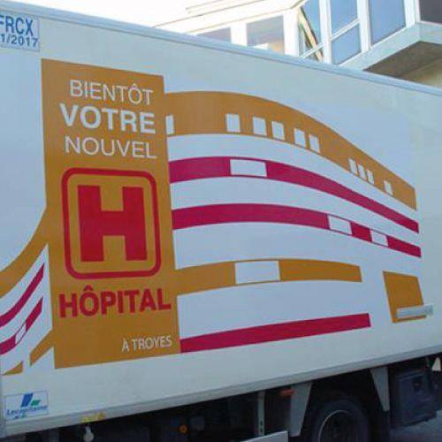 Réalisation d'un visuel pour annoncer l'ouverture du nouvel Hôpital de Troyes.