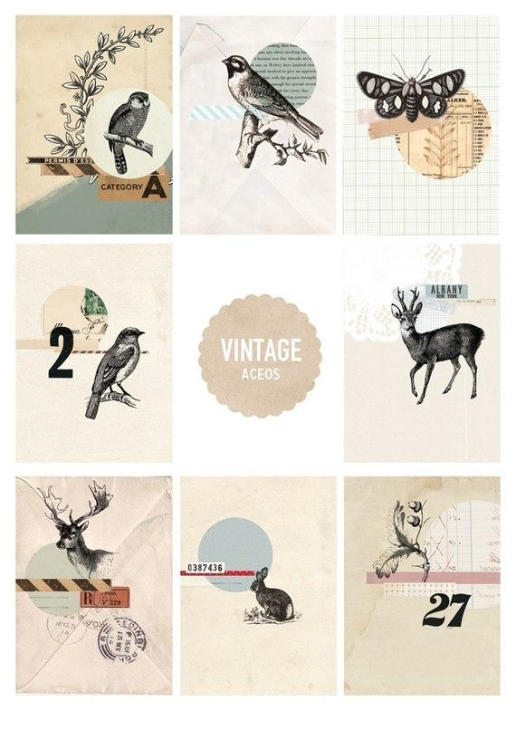Vintage Forest- Digital PDF ACEO Tags for Download and Print | love
