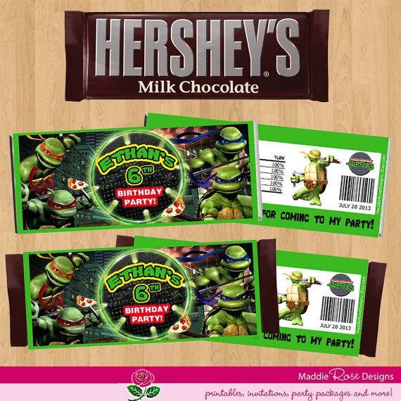 Teenage Mutant Ninja Turtles Candy Bar Wrapper, TMNT Birthday Party Favor You-Print Custom Personalized on Etsy, $4.99