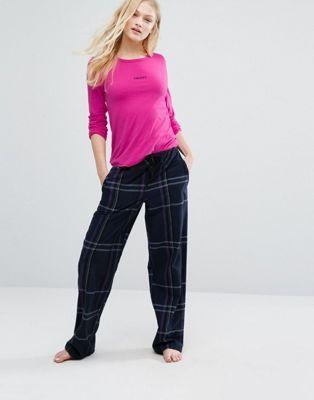 Пижамный комплект в клетку с логотипом DKNY