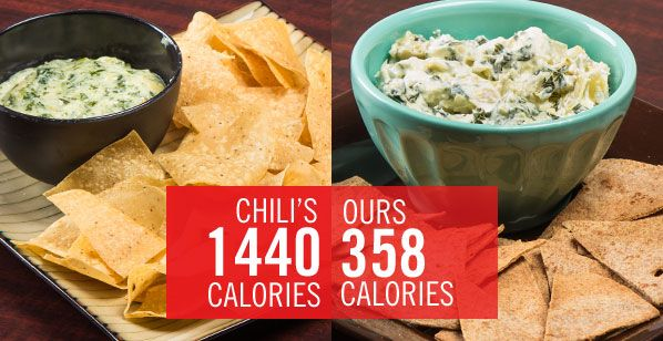 Chain Restaurant Favorites Get A Healthy Makeover: Chili's Spinach and Artichoke Dip With Chips | Save 900 CALORIES with this yummy version! |  Recipe via The Nutrition Twins