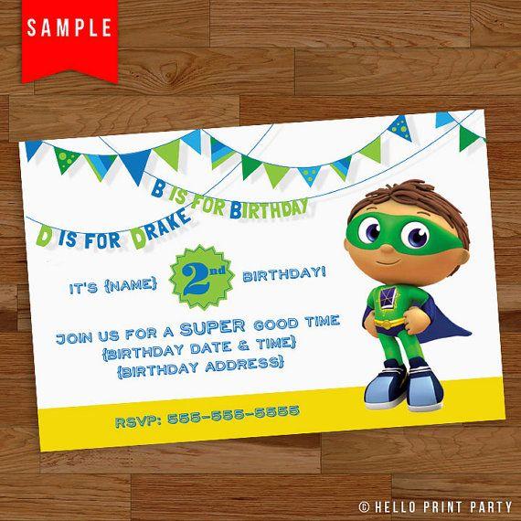 Super Why Birthday Invitation by helloprintparty on Etsy