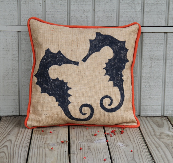 Decorative Pillows Beach Theme : Seahorse Beach Themed Decorative Pillow with Piping Sewing Pinterest Awesome, Decorative ...