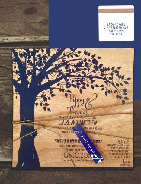 printed on wood! under the old oak invitation navy-cherry