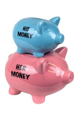 Blue/Pink Ceramic Double Pig Bank