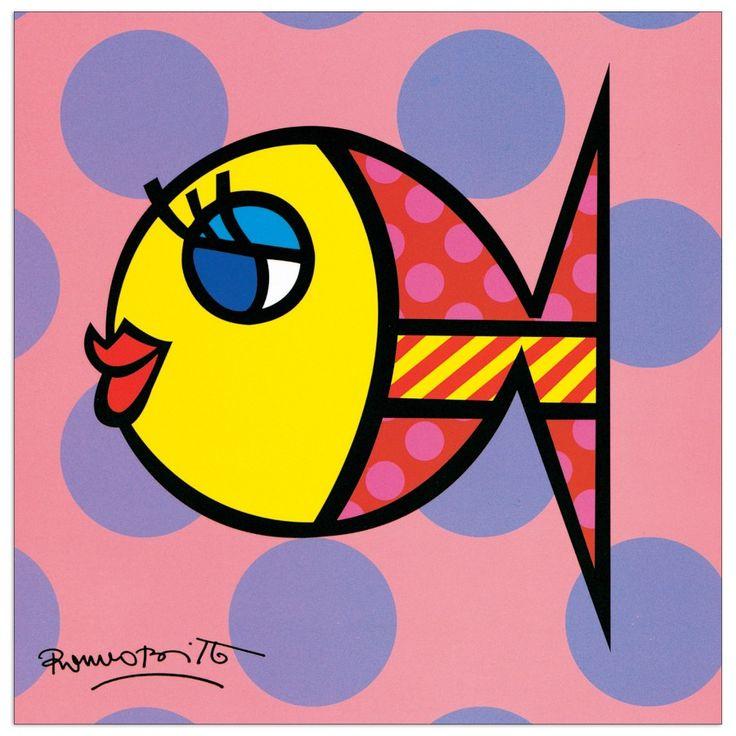 BRITTO - Dotty fish 19x19 cm #artprints #interior #design #art #print #animals  Scopri Descrizione e Prezzo http://www.artopweb.com/EC18434