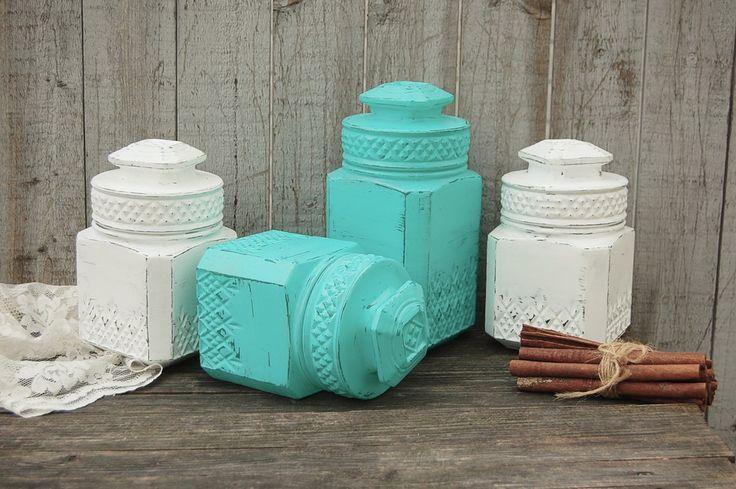 Aqua & white canisters | Aqua, Shabby and Kitchens