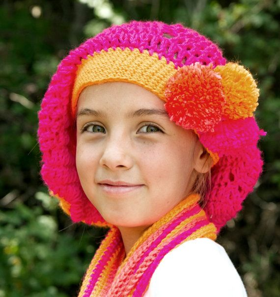 Pom-Pom Slouchy Beret for Girls in Four Color by thejoyofcrochet