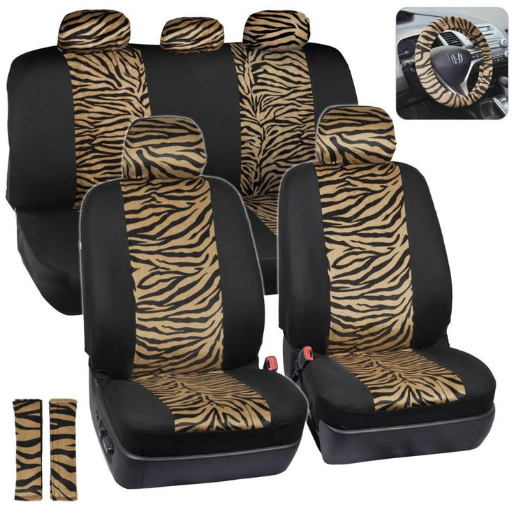 ComfySeats Velvet Animal Car Seat Covers Two Tone Beige Zebra Accent On Black 9pc Set