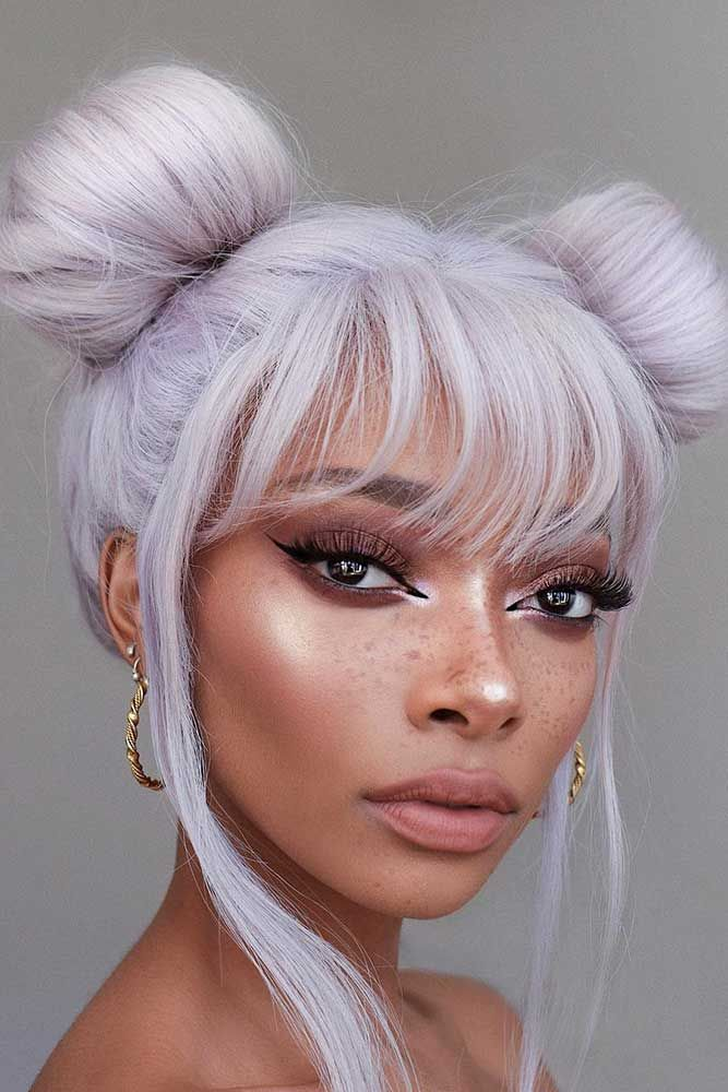 20 Super Cool Party Looks With Hair Buns Lovehairstyles Com Two Buns Hairstyle Bun Hairstyles Short Emo Hair