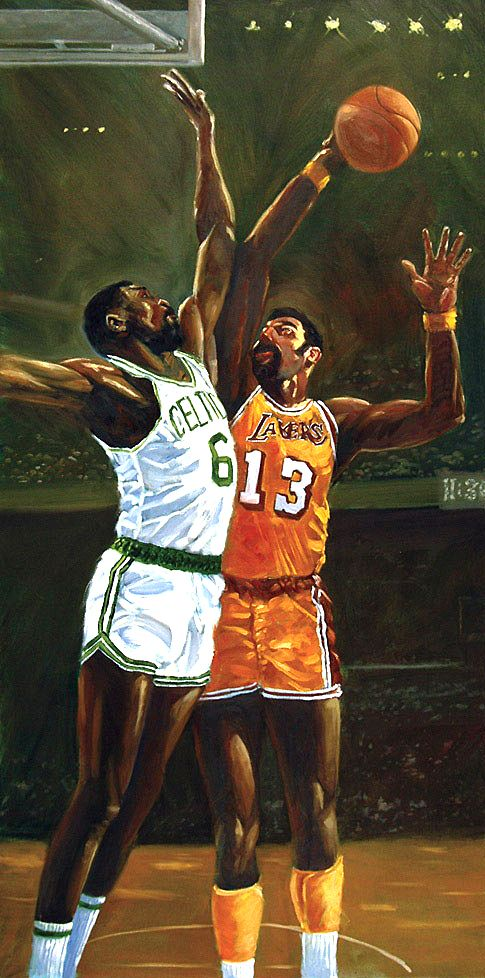 Wilt Chamberlain and Bill Russell by Dick Perez