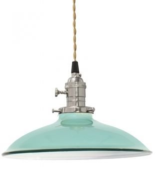instead of paying $159 ... take the industrial $7 lights at any osh/homedepot and spraypaint (silver switch, aqua shade, white interior)  Use vintage styled light bulbs $8 at Lowes.