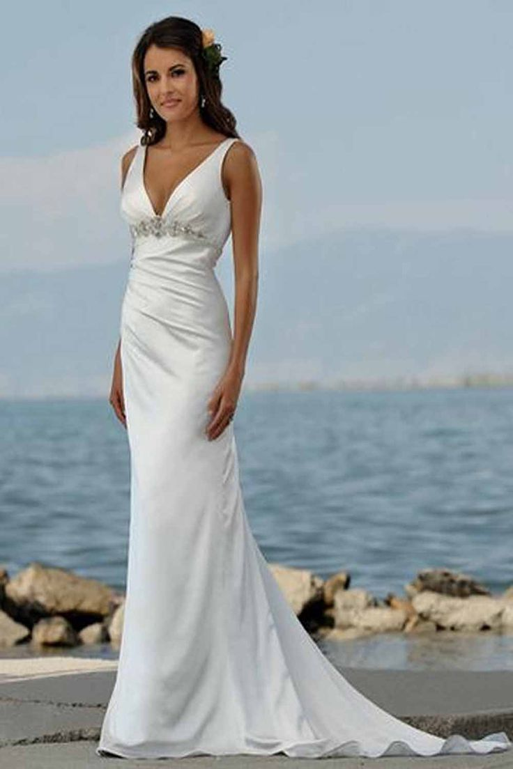 vintage wedding dresses beachy wedding dresses Love the back of this dress Trumpet Mermaid V neck Court Trains Sleeveless Satin Beach Wedding Dress For Brides
